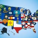 Карта штатов США из флагов штатов